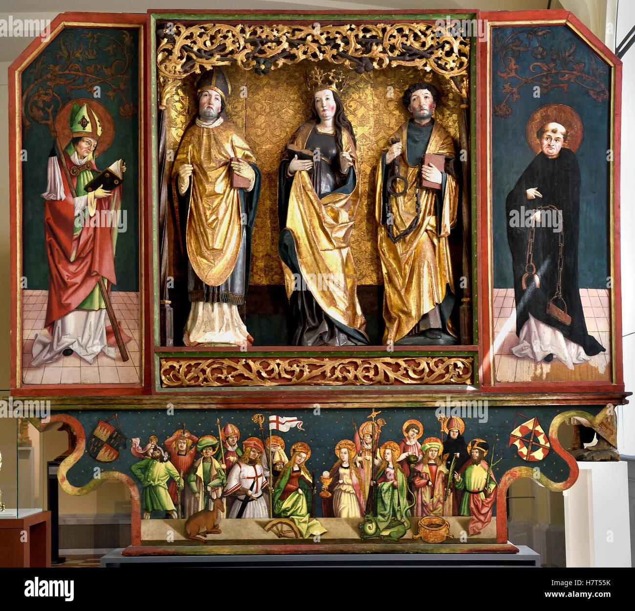 Retablo alado con los santos y los catorce Ayudantes Santo 1500 Franken Schwabisch hall alemán Alemania Imagen De Stock