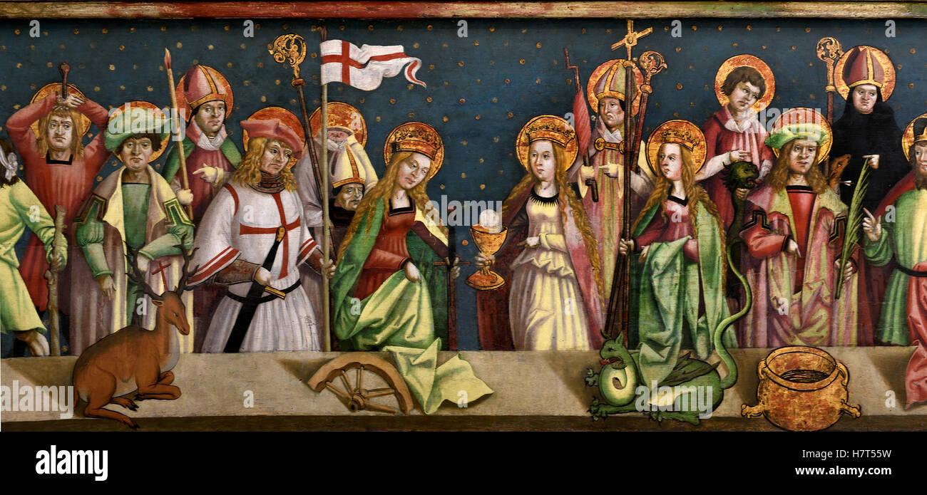Retablo alado con los santos y los catorce Ayudantes Santo 1500 Franken Schwabisch hall alemán Alemania ( detalles Imagen De Stock