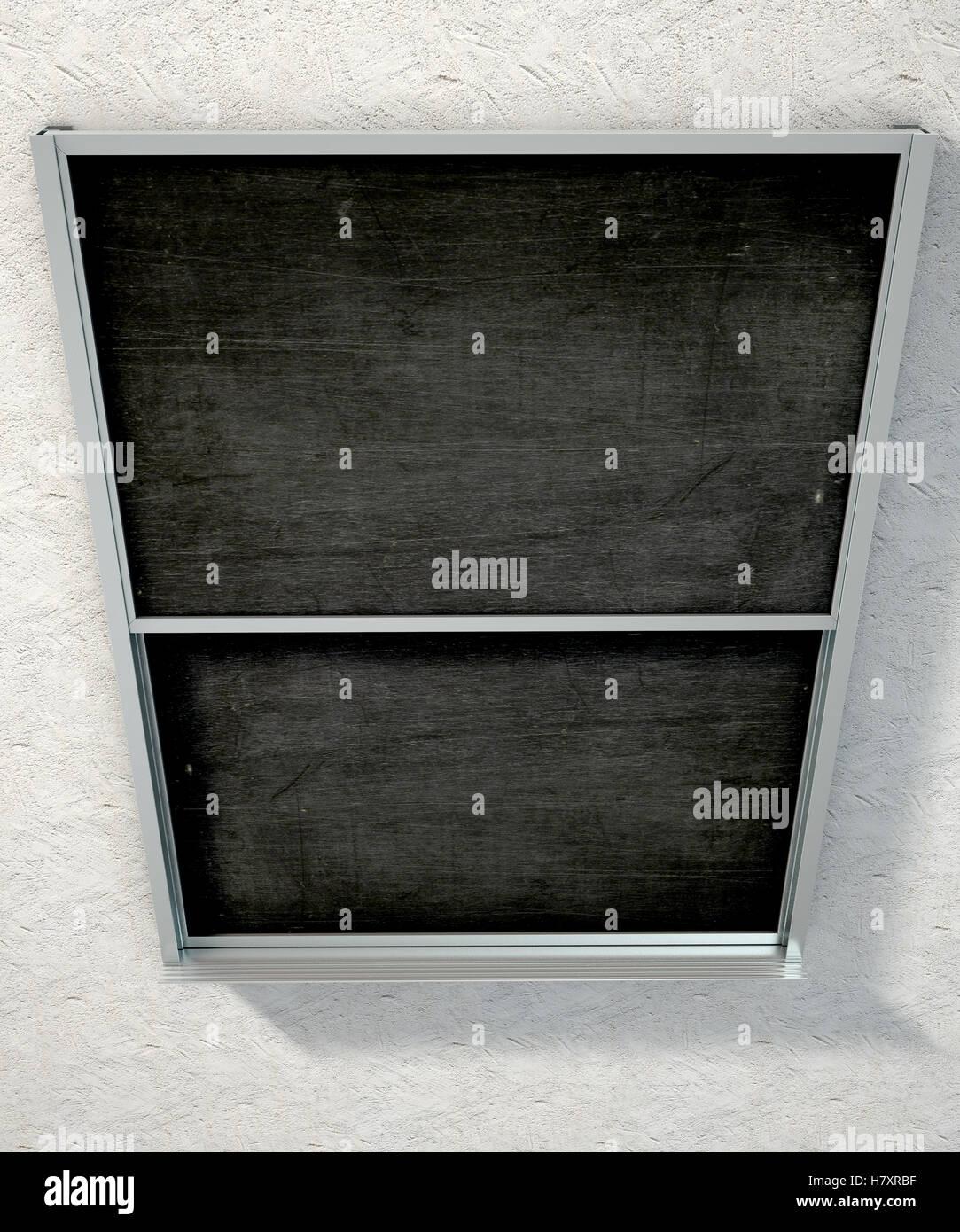 3D Render de una pizarra negra rectangular con un marco de metal ...