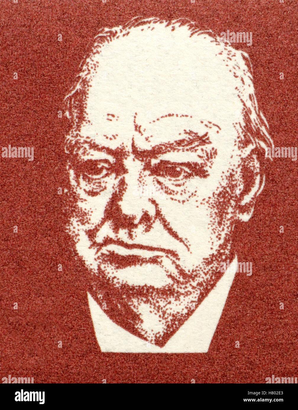 Retrato de Winston Churchill (1874-1965: primer ministro británico) a partir de una estampilla postal alemán. Foto de stock