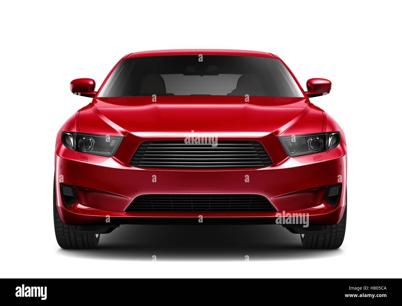 Rojo coche genérico - Vista frontal Imagen De Stock