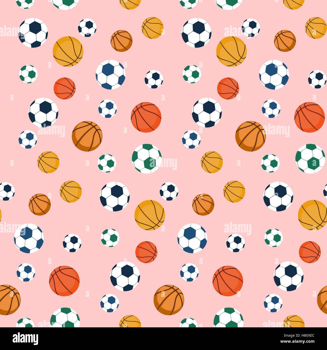 Balones deportivos patrón sin fisuras.pelotas de fútbol y baloncesto.  Fotografía de Stock de c201db13f436a