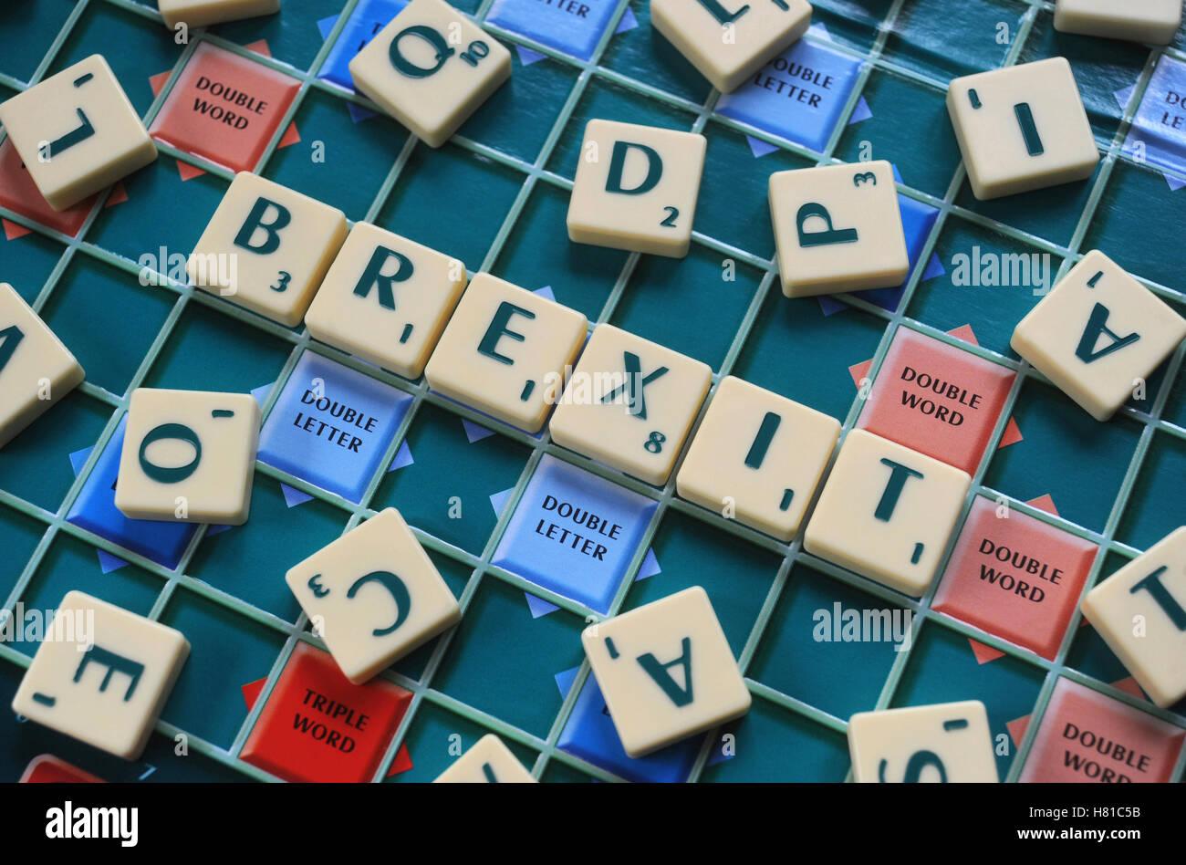 Juego De Palabras Scrabble Letras Brexit Re Brexit Dejando La