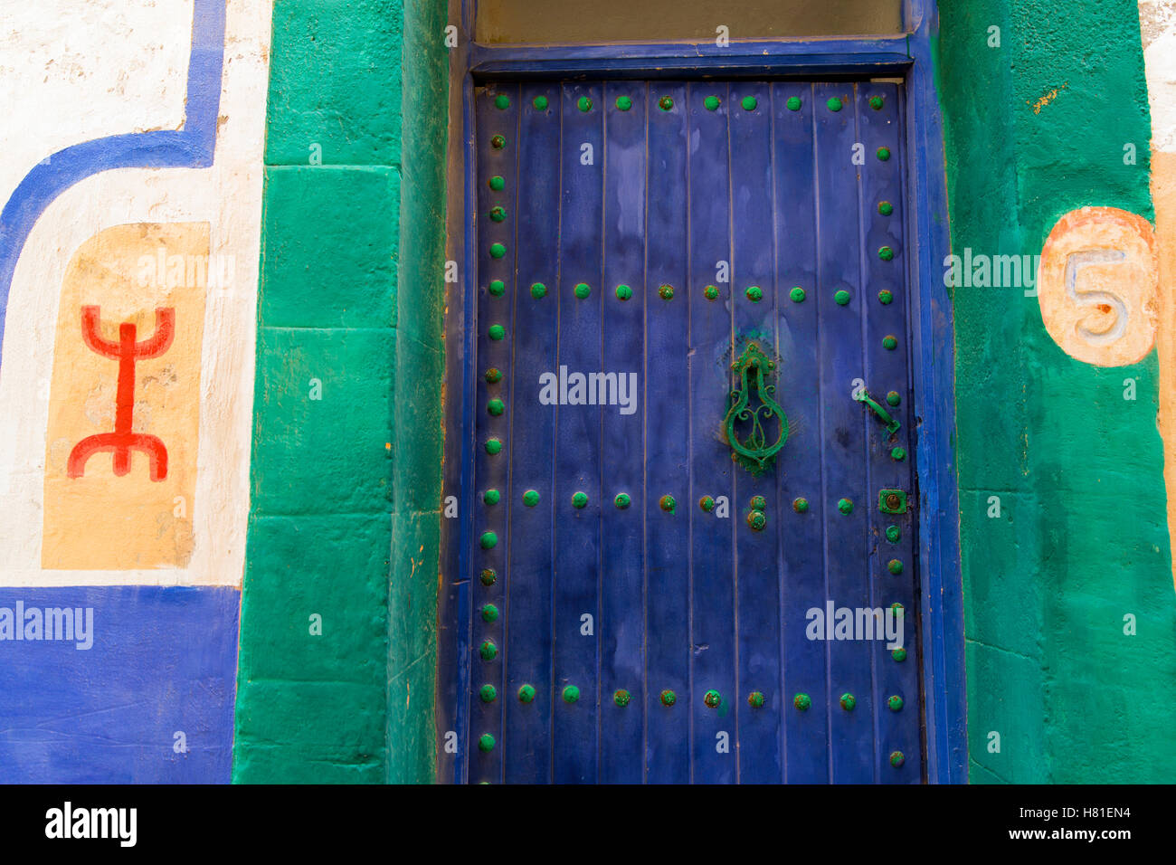 Marruecos, Essaouira,puerta pintadas Imagen De Stock
