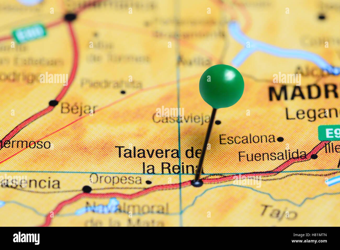 Mapa Talavera Dela Reina.Talavera De La Reina Anclado En Un Mapa De Espana Fotografia De Stock Alamy