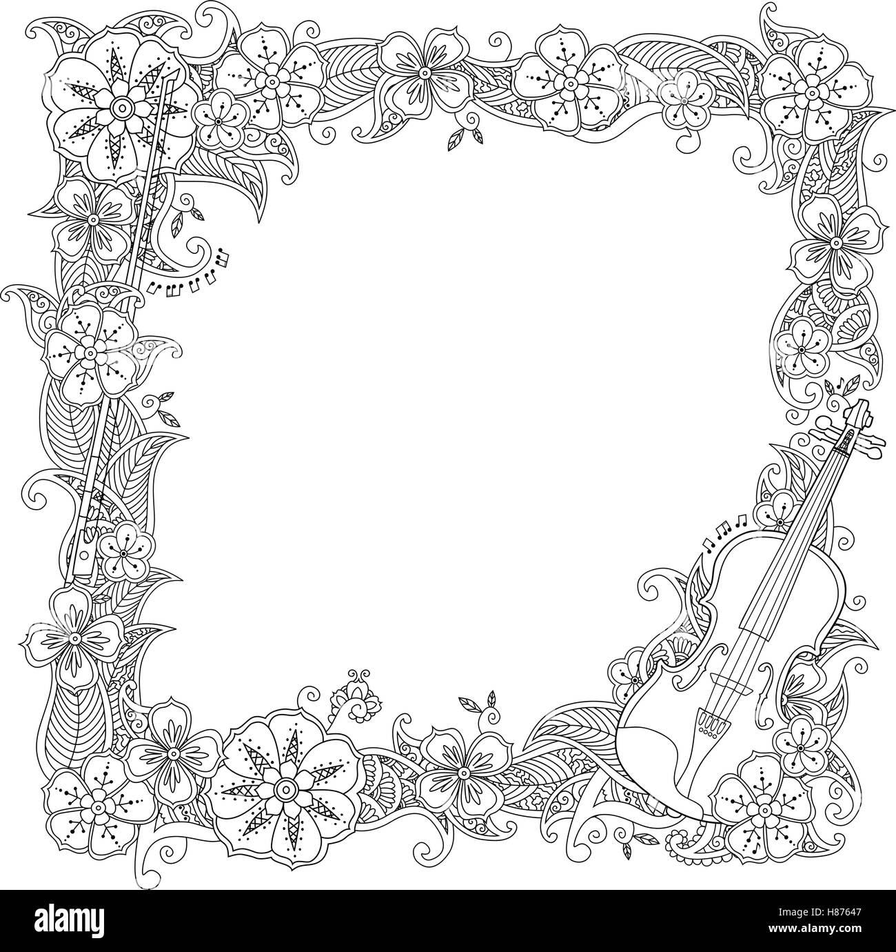 Página para colorear - Frontera, bastidor cuadrado con violín ...