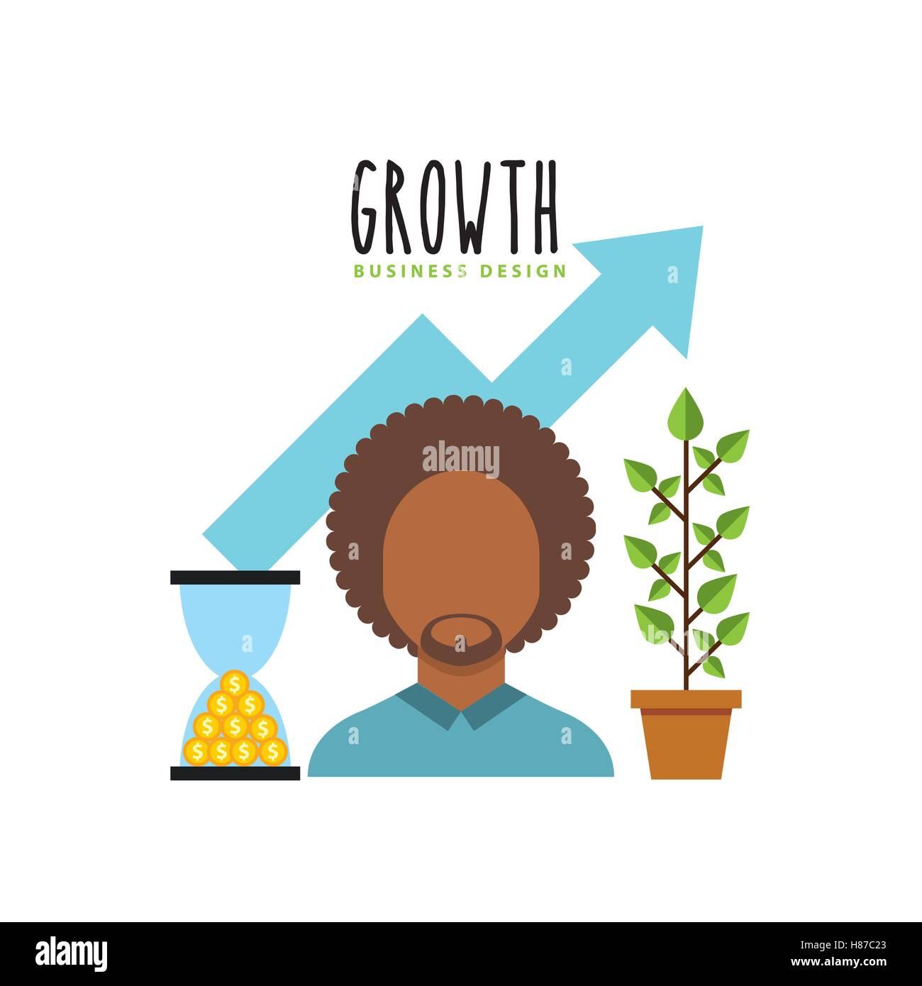 El crecimiento del negocio de fondos planos, diseño de ilustraciones vectoriales iconos Imagen De Stock