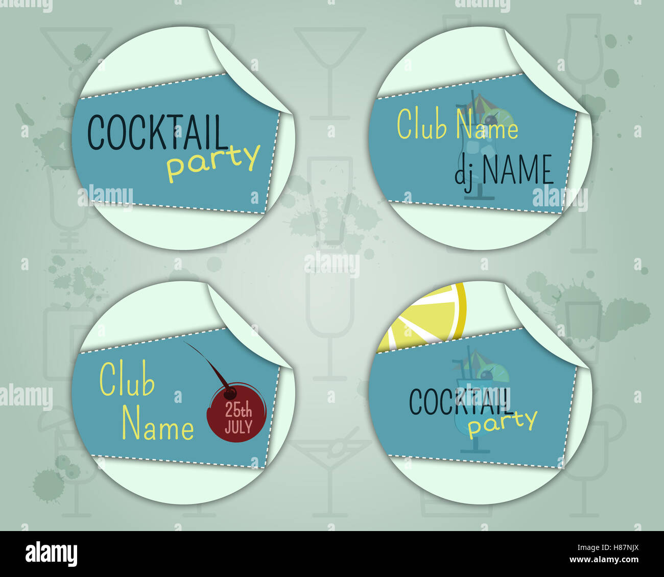 Cóctel de verano insignia y la plantilla de diseño de etiqueta con ...