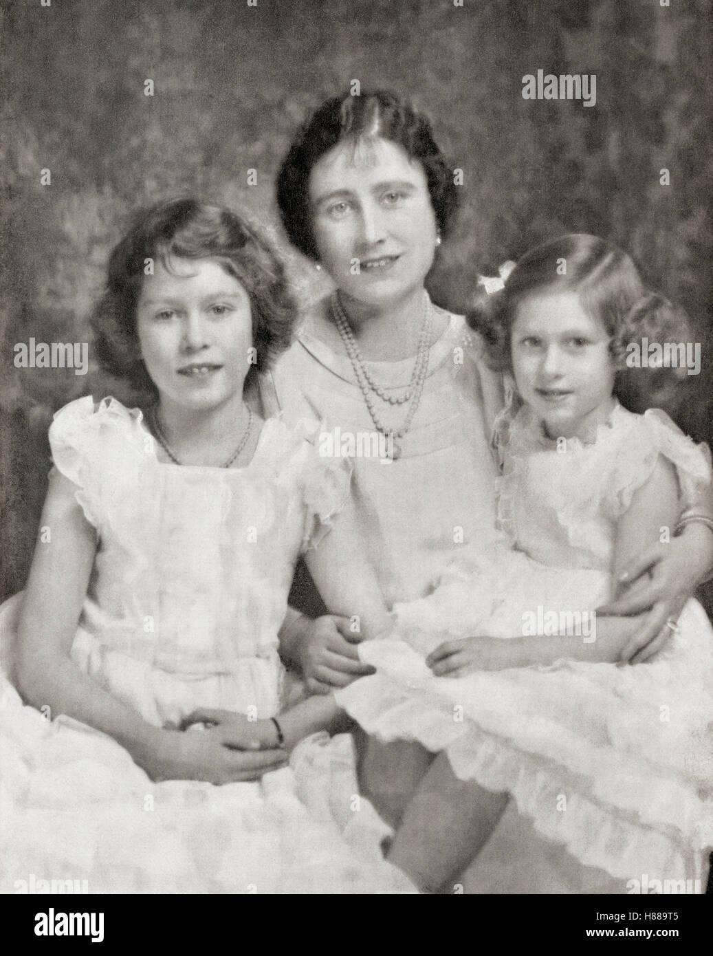 La Reina Isabel Con Sus Hijas La Princesa Isabel La Futura Reina Isabel Ii Izquierda Y Derecha Princess Margaret En 1937 La Reina Elizabeth La Reina Madre Elizabeth Angela Marguerite Bowes Lyon 1900