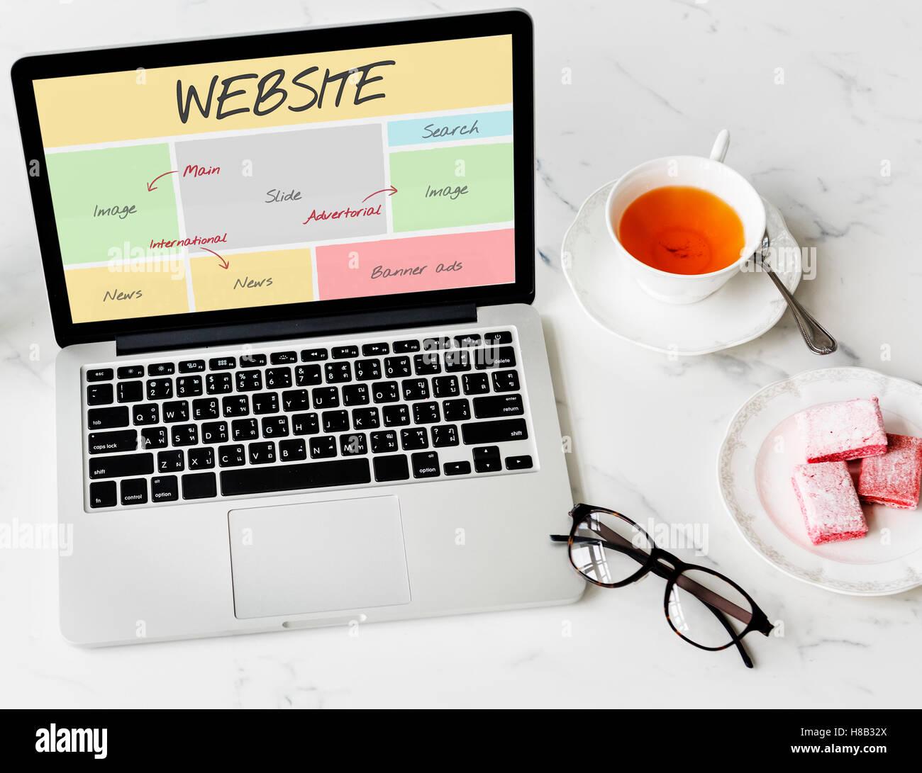 El contenido del sitio web de Concepto de Diseño Web Imagen De Stock