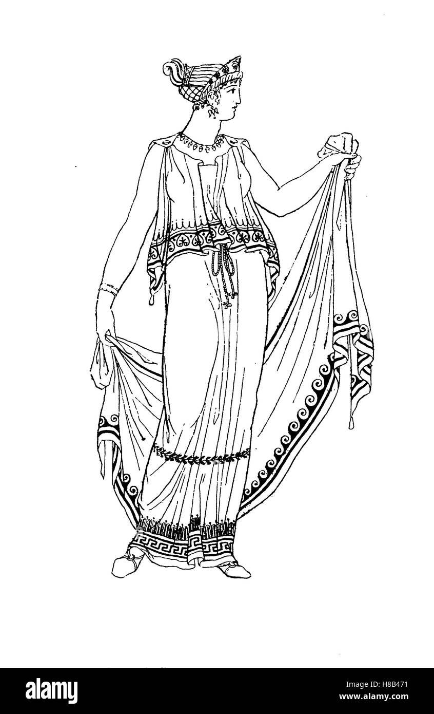 Grecia, dama con un quitón vestida, en el concepto de los Peplos, Historia de la moda, vestuario historia Imagen De Stock