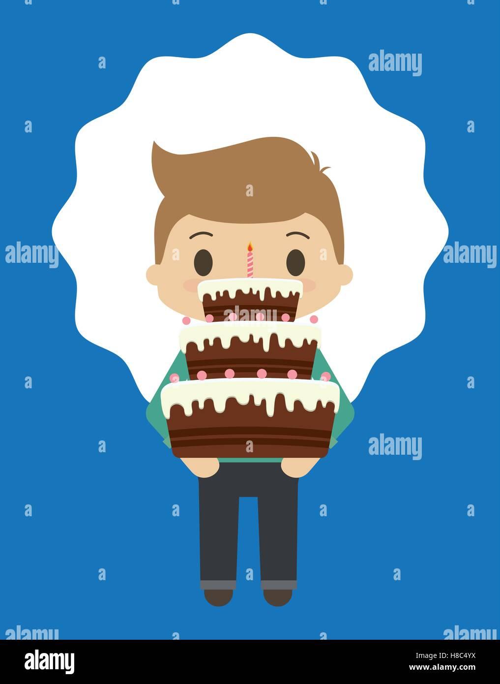 Feliz cumpleaños kid cartoon Imagen De Stock