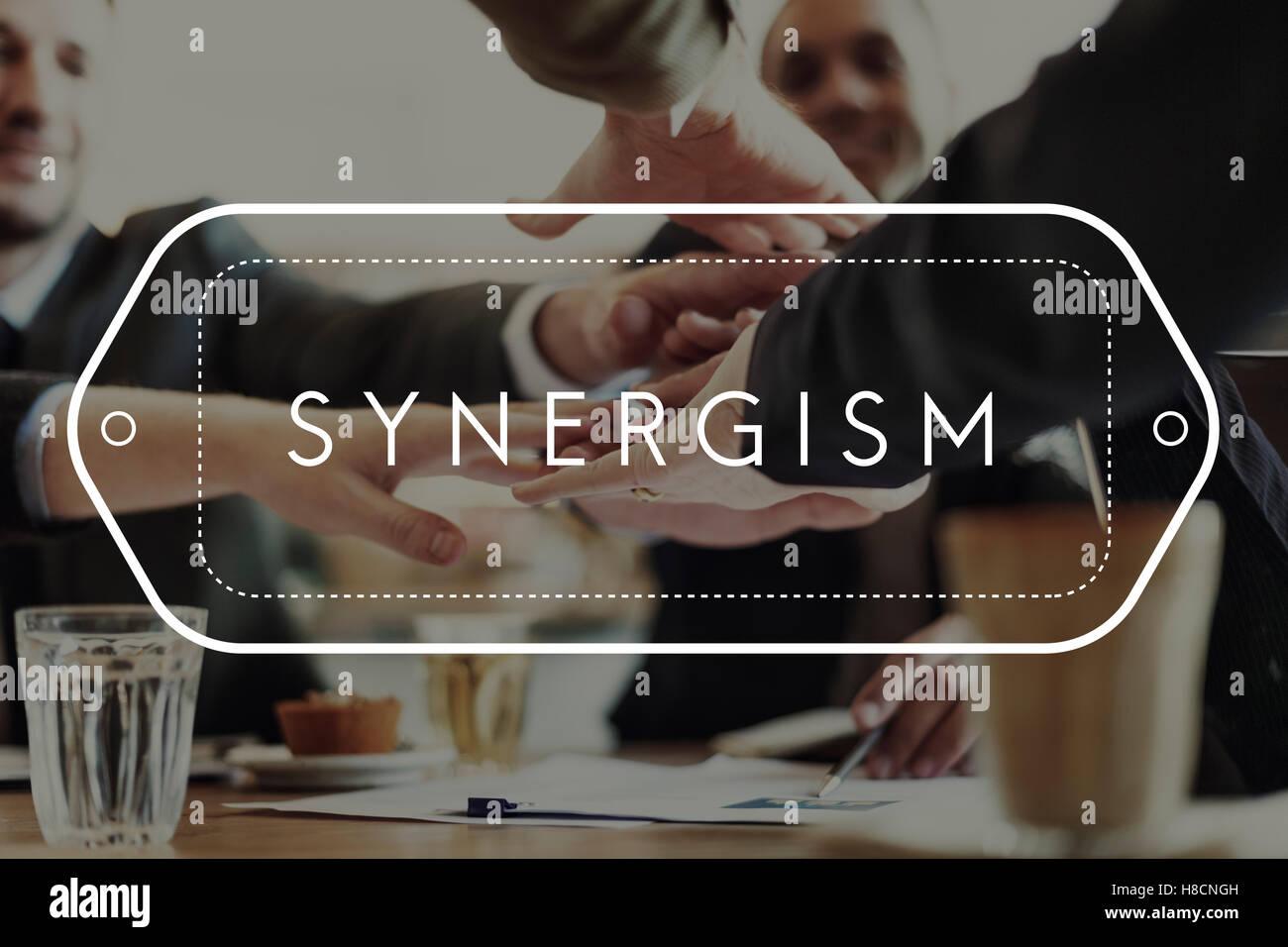 Sinergia sinergia interacción Concepto Unidad de Cooperación Imagen De Stock