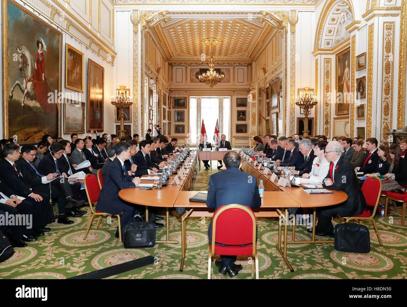Londres, Reino Unido. 10 Nov, 2016. El Vice Premier chino Ma Kai co-preside la octava China-Britain un diálogo económico Foto de stock