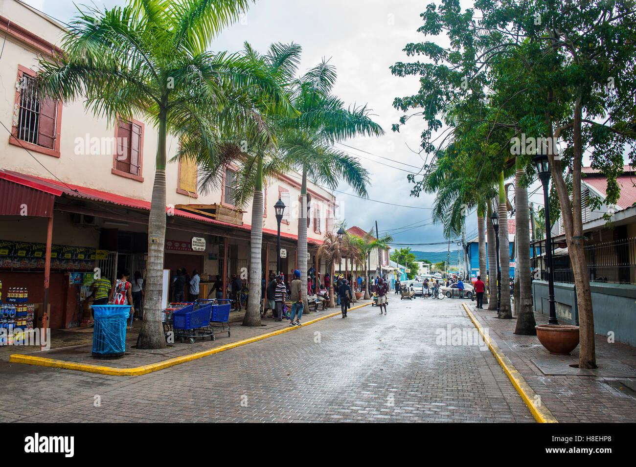 Edificios históricos, Falmouth, Jamaica, Antillas, Caribe, América Central Foto de stock