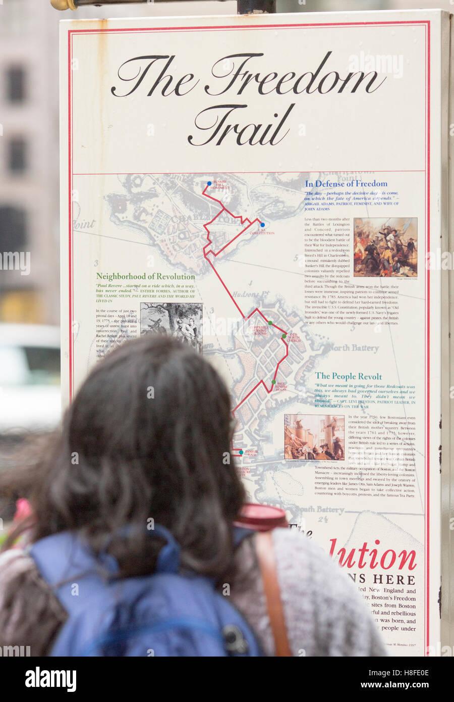 Boston , Massachusetts , EE.UU. El Freedom Trail firmar Imagen De Stock
