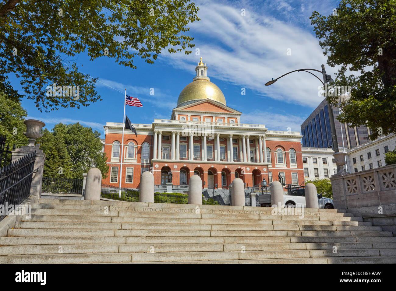Casa del Estado de Massachusetts, Boston, Massachusetts, EE.UU. Imagen De Stock