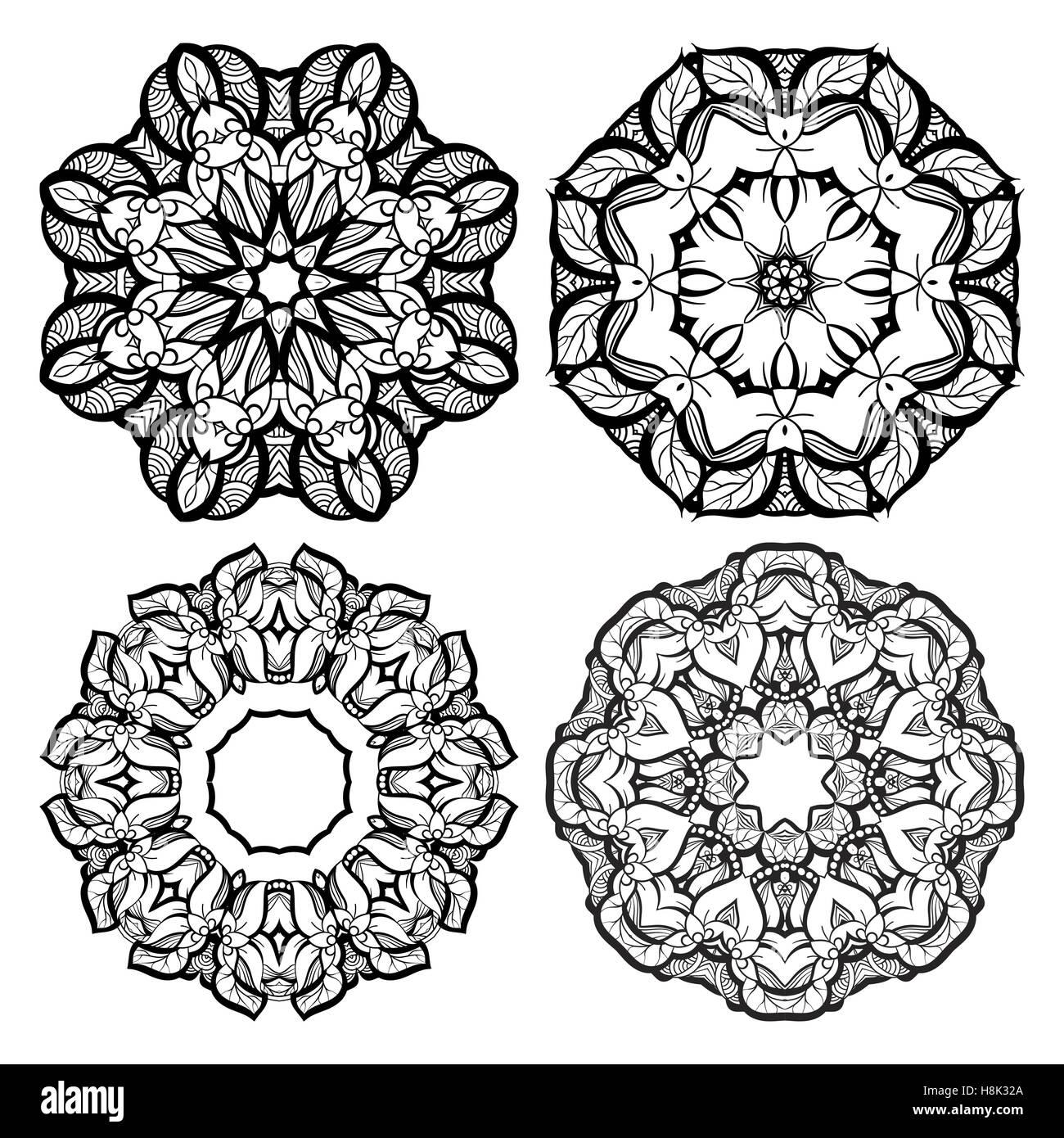 c3f4e5683347d Dibujado a mano elementos ornamentales mehendi y mandala colección. Tatuaje  de henna indio. Diseño decorativo estilo oriental plantil