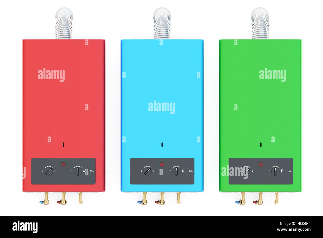 Conjunto de color inicio calderas de gas, calentadores de agua. 3D rendering aislado sobre fondo blanco. Imagen De Stock