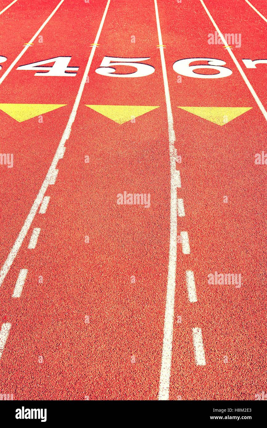 Lane marcas en pista de atletismo Imagen De Stock