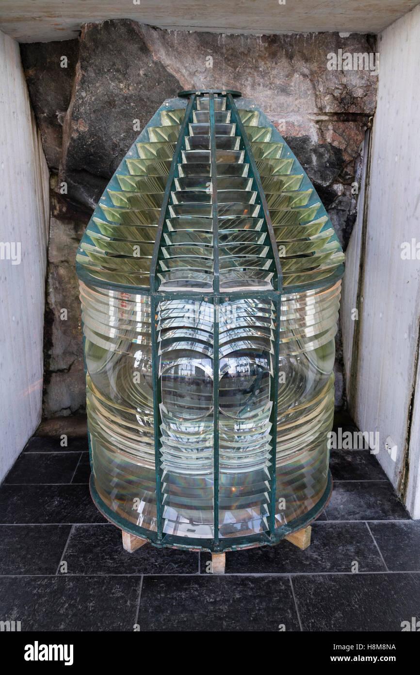 En el interior de la lámpara del faro faro de Lindesnes, Noruega Imagen De Stock