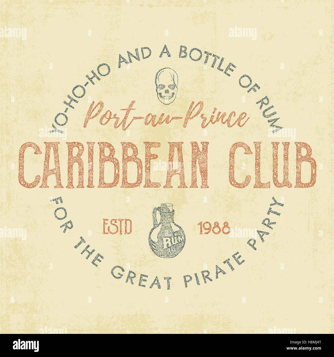 Vintage etiqueta artesanal, emblema. Caribe club plantilla de ...