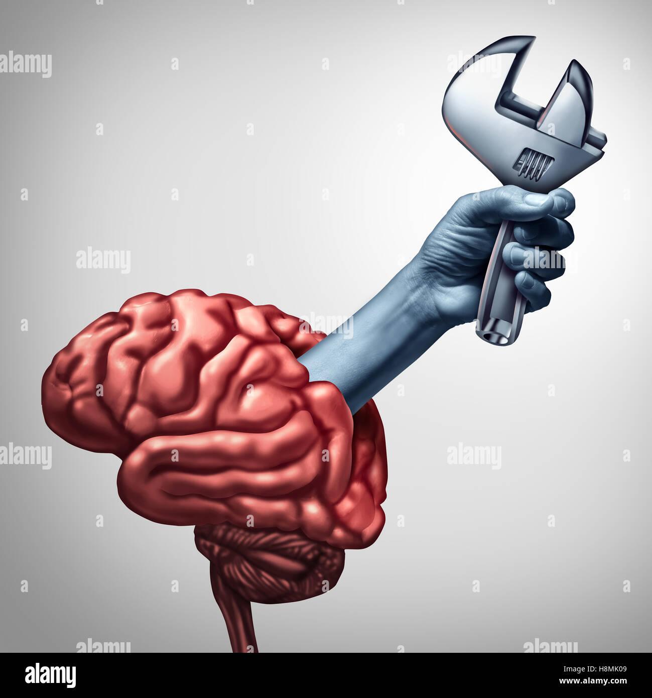 Reparación Cerebral la psicoterapia o la neurología, cirugía concepto de salud como una mano emergiendo Imagen De Stock