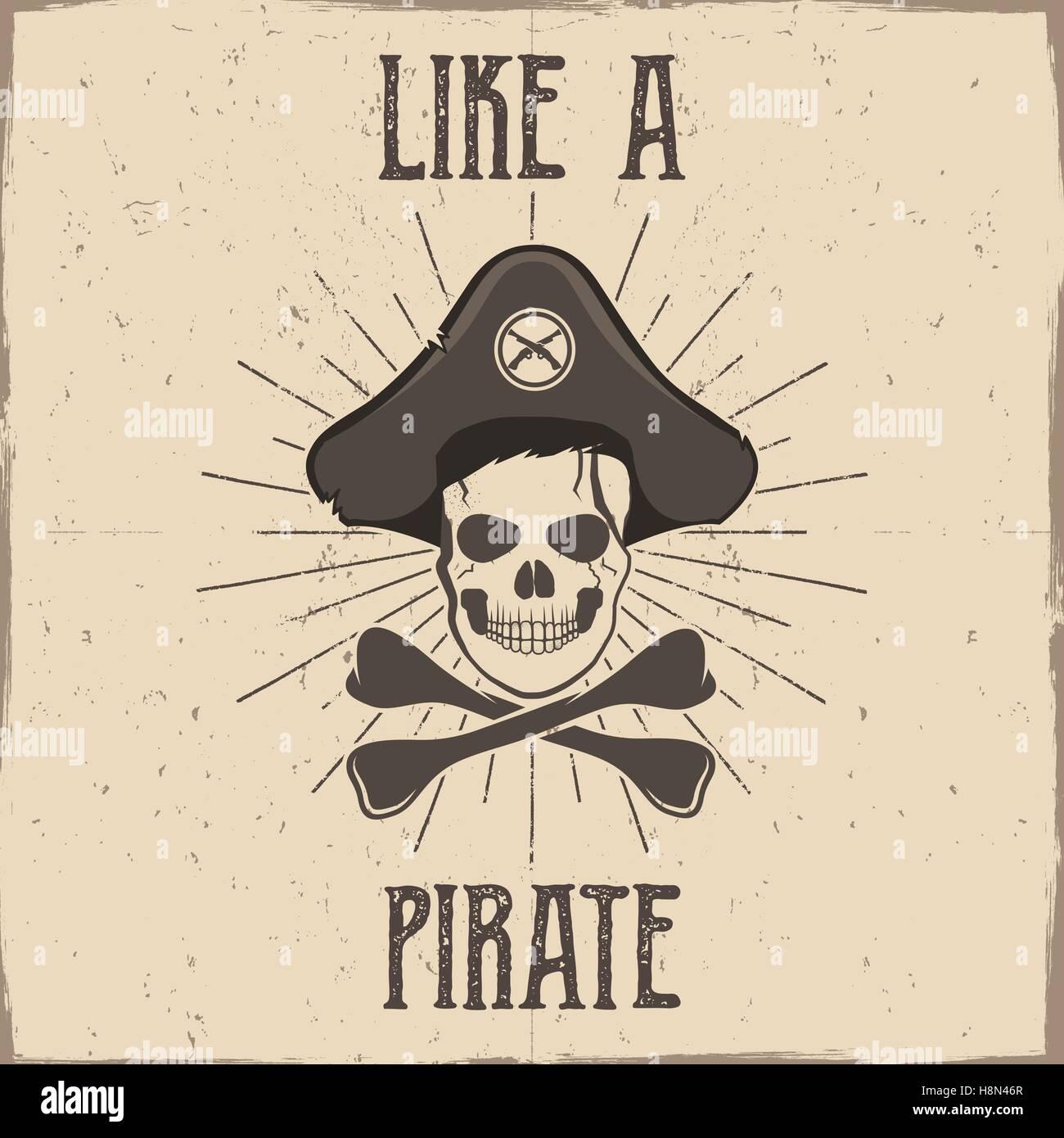 Tipografía Inspiradora Y La Etiqueta El Cartel De Piratas