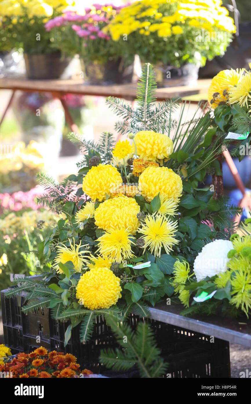 Arreglos Florales Con Los Crisantemos Para La Venta En El