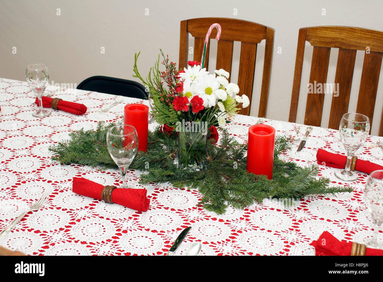 Mesa De Comedor Central de Navidad Imagen De Stock