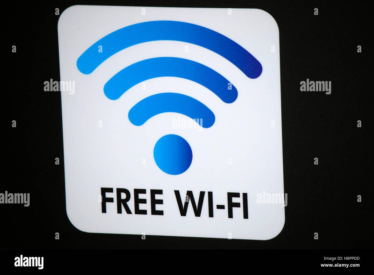 """Logo das der Marke """"Wifi gratis"""", Berlín. Imagen De Stock"""