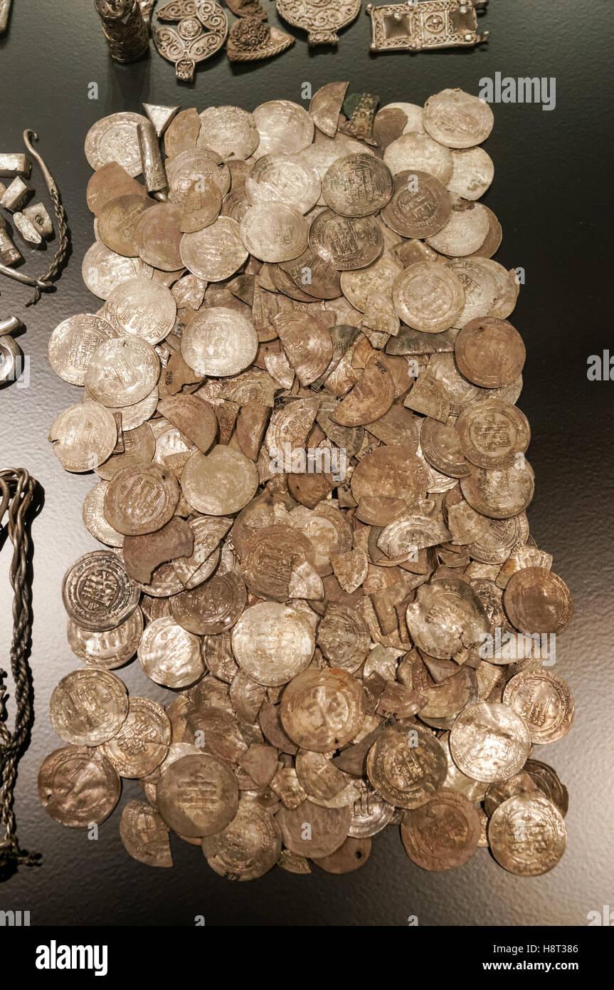 Atesoran desde Terslev plata en Zelanda del siglo 10, el Museo Nacional de Dinamarca en Copenhague, Dinamarca Foto de stock