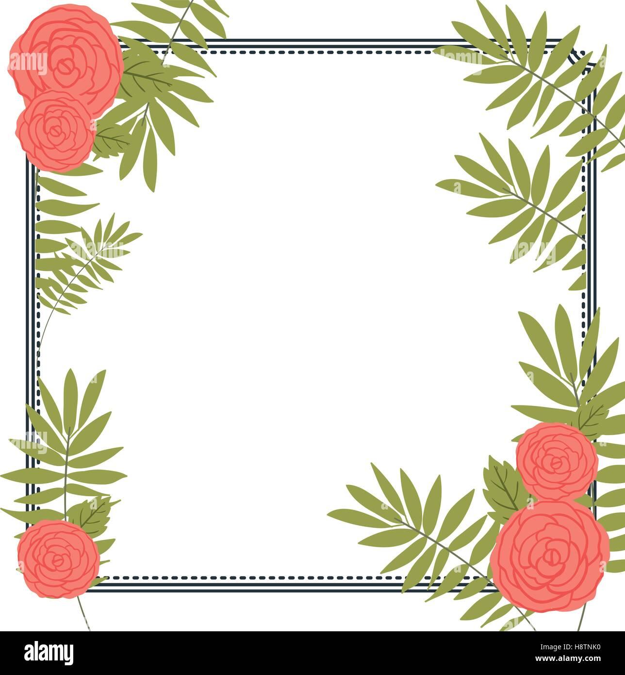 Icono marco flores y hojas. Decoración floral de jardín rústicas ...
