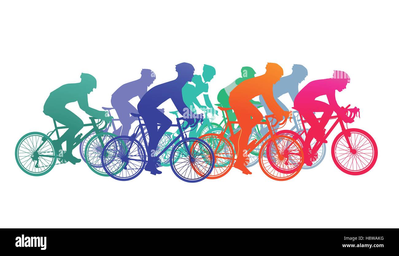 Grupo de ciclistas en la carrera de bicicletas Imagen De Stock