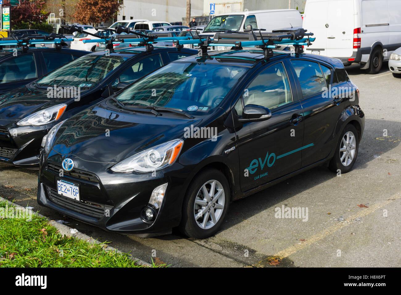 Evo compartir auto, Vancouver, BC, Canadá. Imagen De Stock