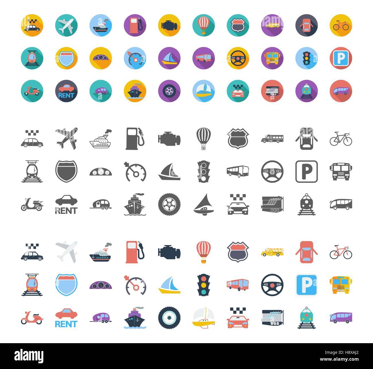 Conjunto de iconos de transporte. Planos diferentes estilos relacionados con vectores iconos para web y aplicaciones Imagen De Stock