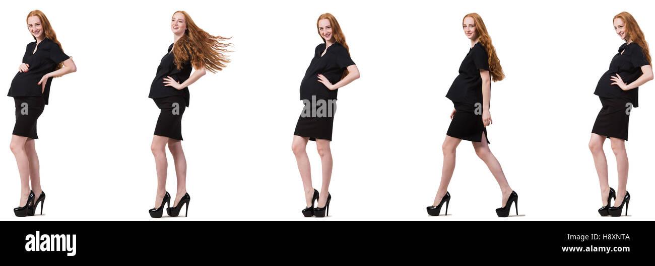 257487884 Mujer embarazada en imagen compuesto aislado en blanco · Elnur Amikishiyev    Alamy Foto de stock