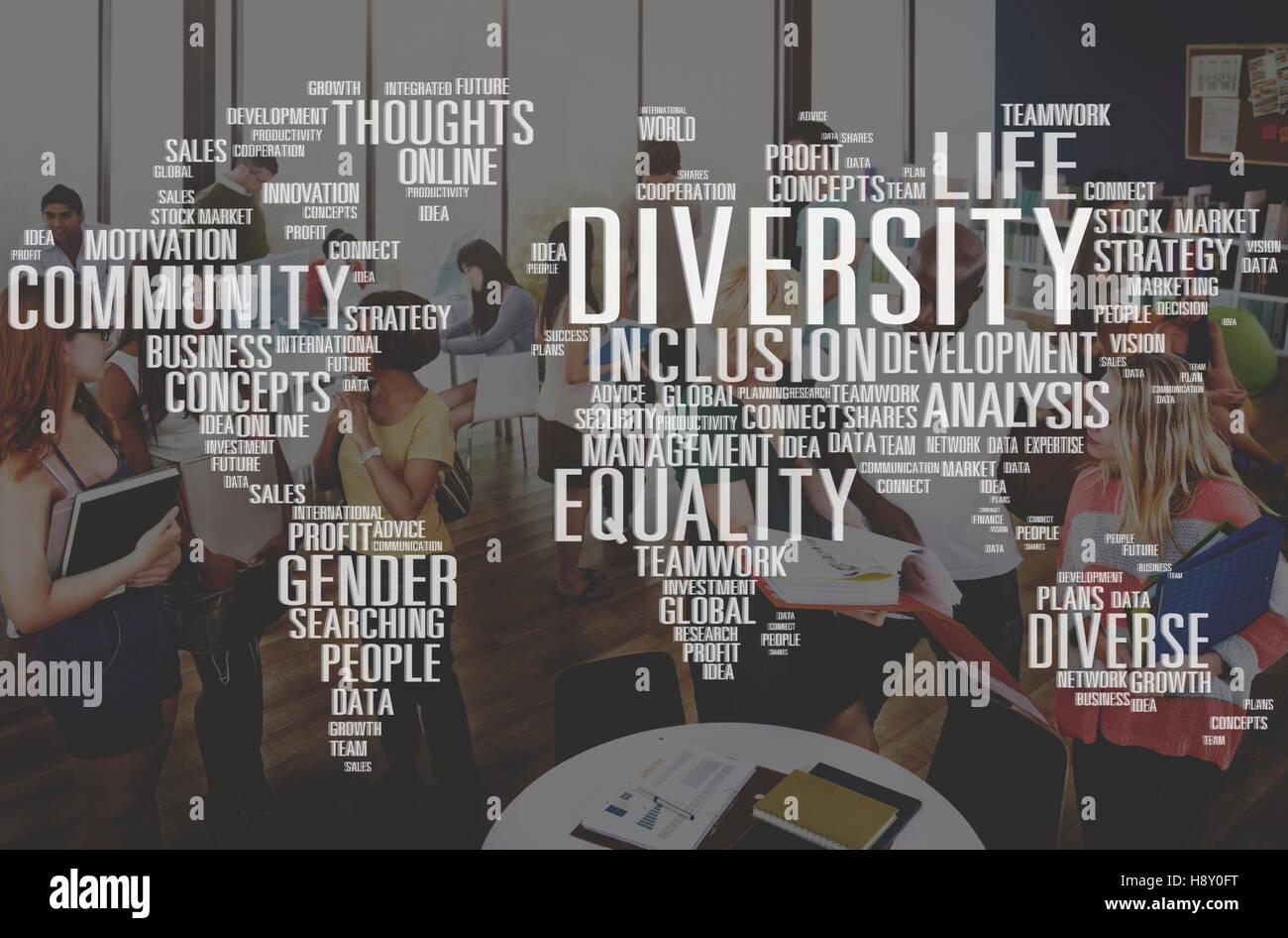 Igualdad de Género diverso Concepto de gestión de la Innovación Foto de stock