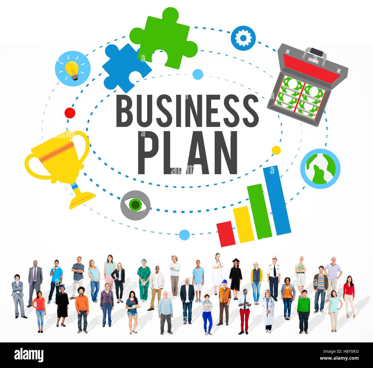 Plan de Negocios de la misión de planificación directrices concepto Imagen De Stock