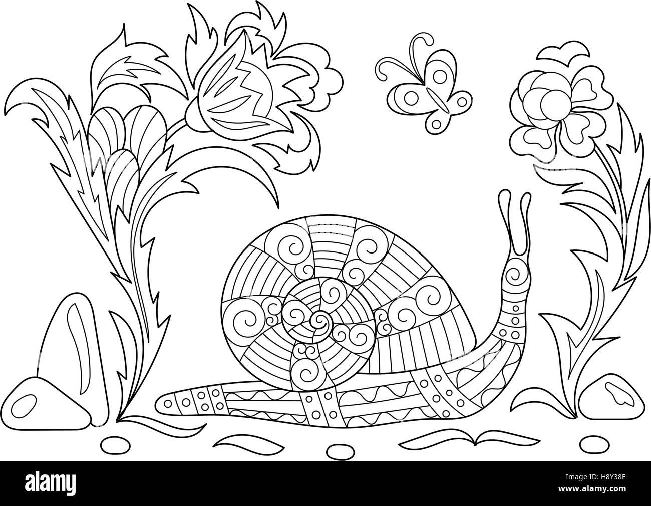 Zentangle caricatura estilizados caracol rastreo entre las flores ...