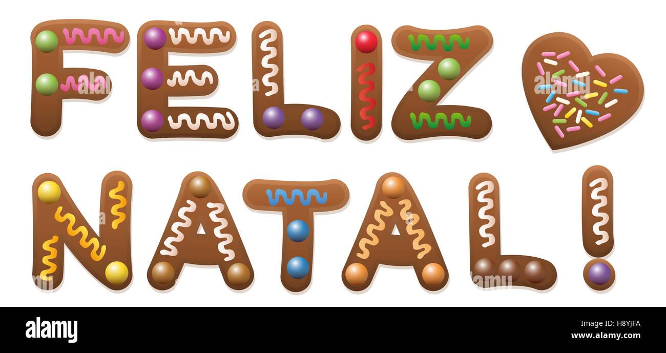 FELIZ NATAL - Feliz Navidad en francés - escrito con pastel de pan de jengibre. Imagen De Stock