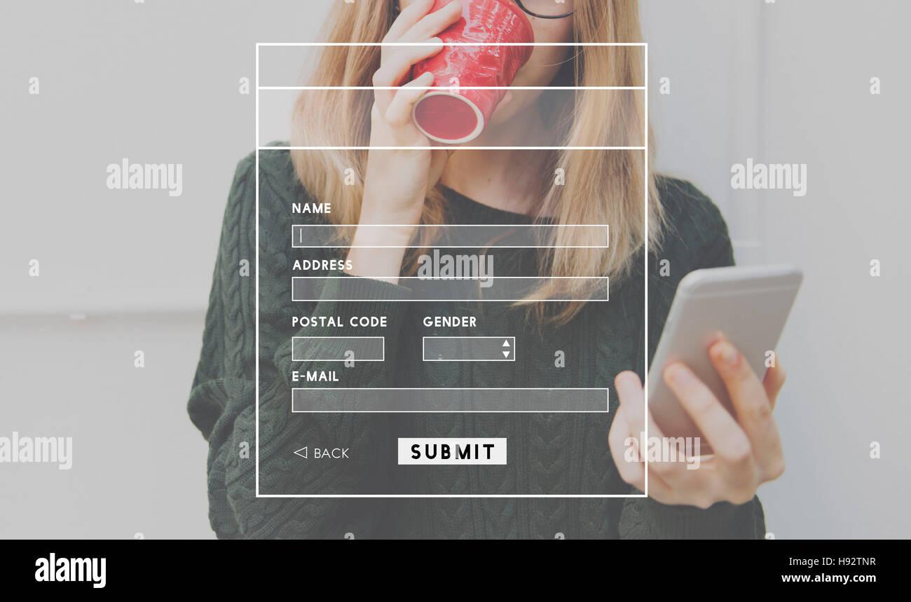 Perfil de cuenta en línea concepto Enviar Imagen De Stock