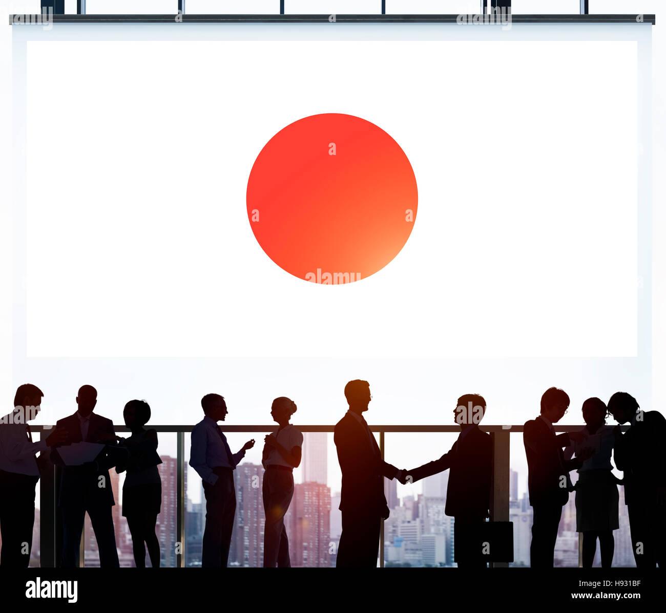 Bandera japonesa patriotismo Concepto Unidad orgullo japonés Imagen De Stock