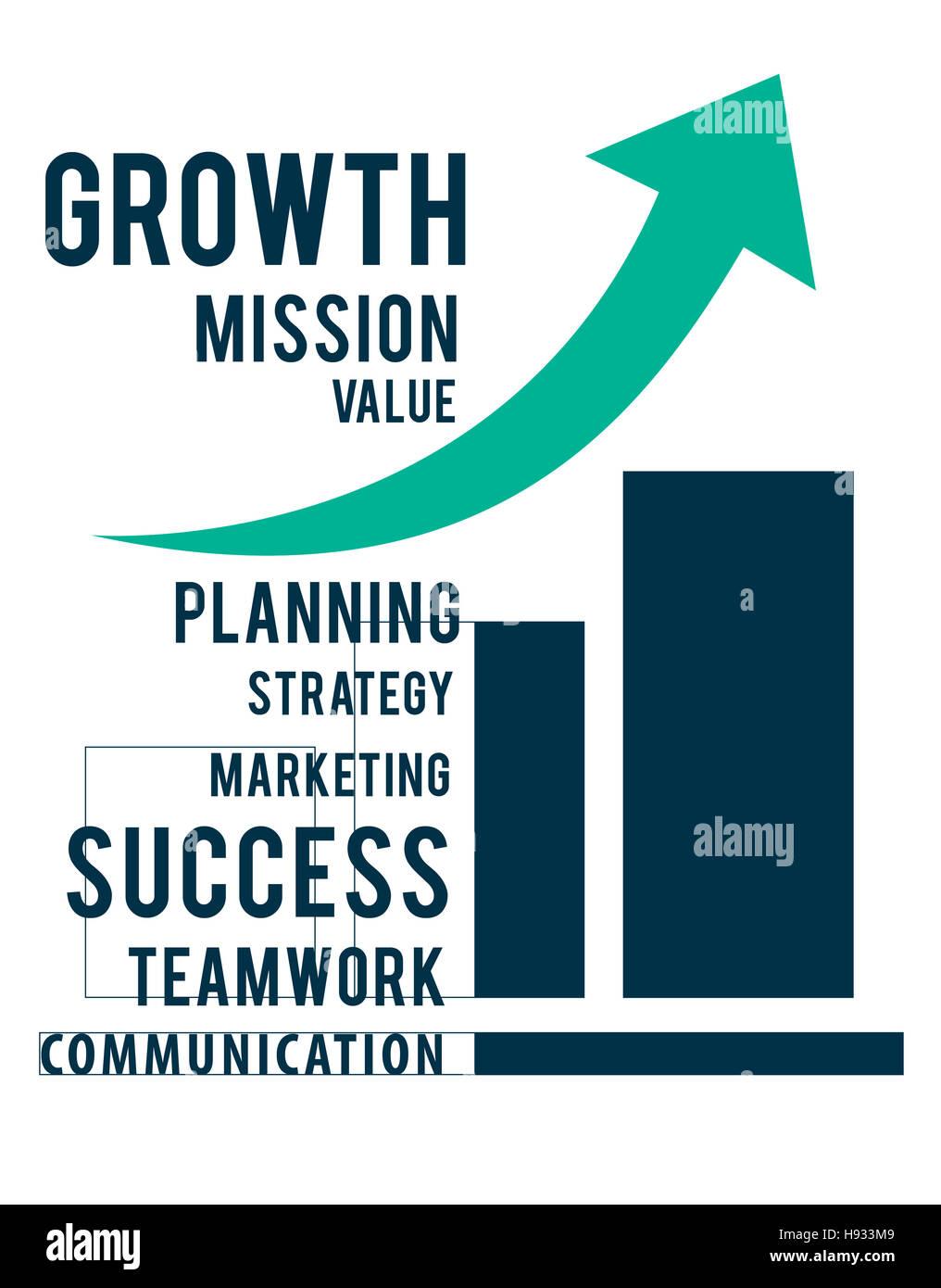 Proceso de crecimiento estrategia Visión éxito aumentar concepto Imagen De Stock