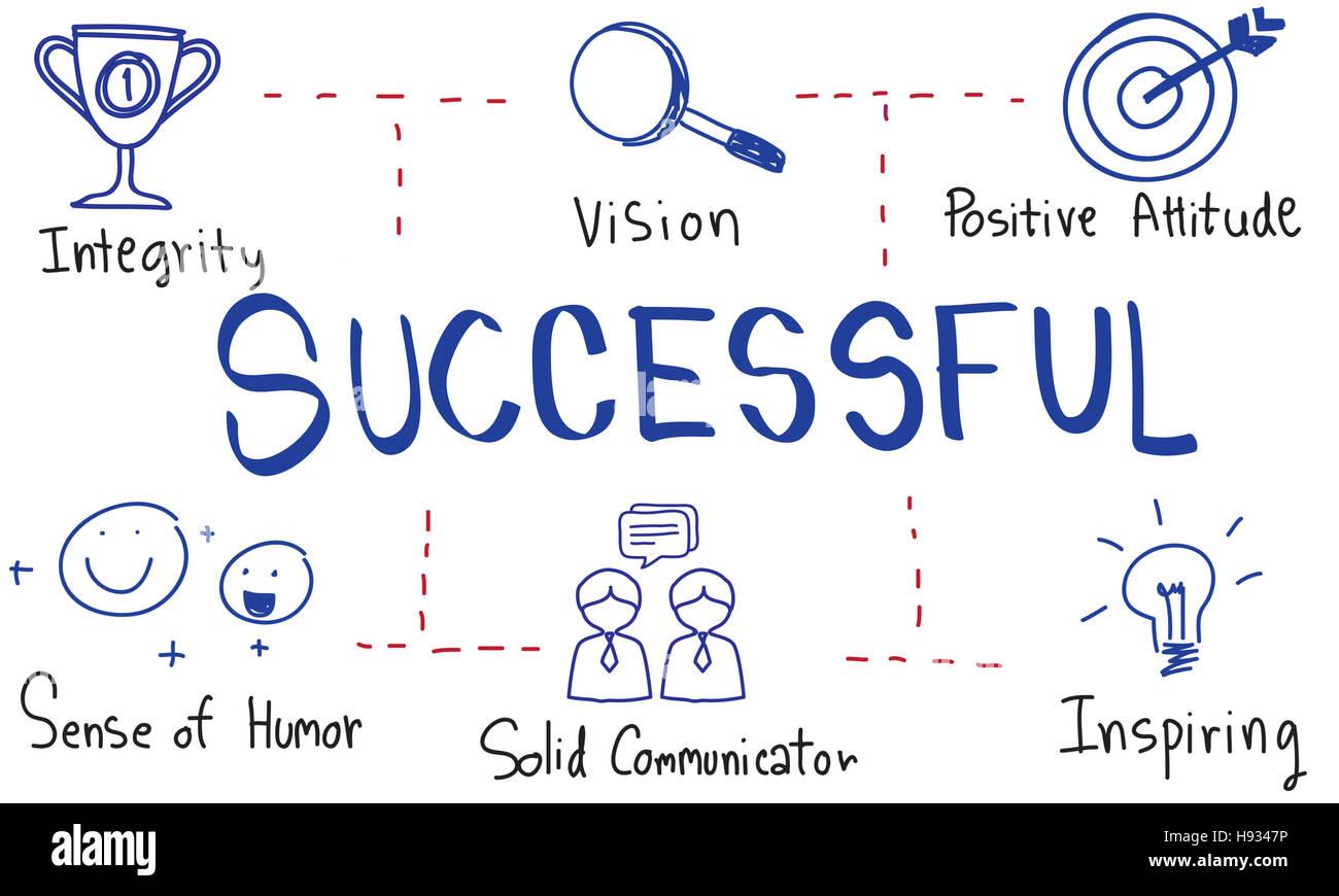 Destrezas para el éxito liderazgo Concepto Gráfico de dibujo Imagen De Stock