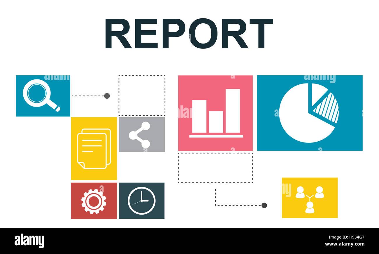El análisis de los datos los datos analíticos Informe Concepto Imagen De Stock