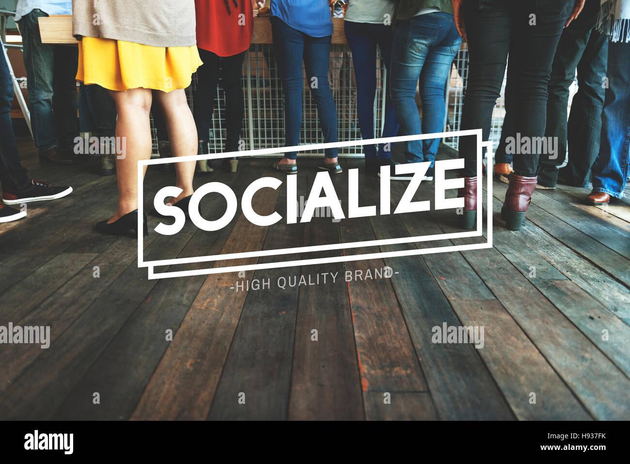 Socializar el concepto de unidad de red becas de conexión Imagen De Stock