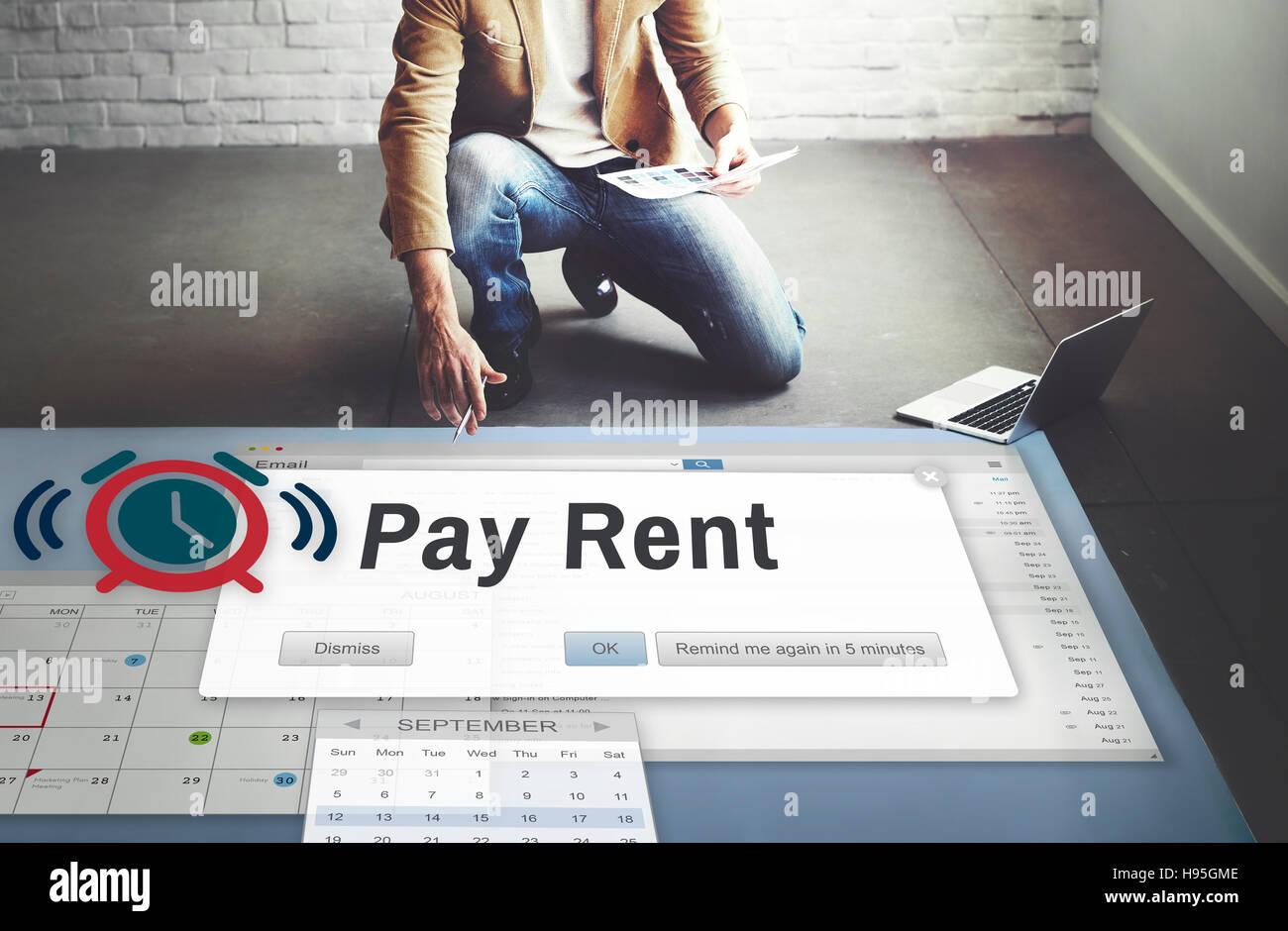 Pagar la renta pueden alquilar alquiler inmobiliario concepto disponible Foto de stock