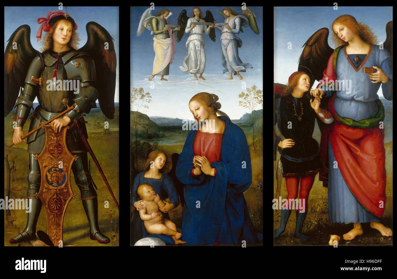 Pietro Perugino - tres paneles de un retablo, Certosa - 1496 Imagen De Stock
