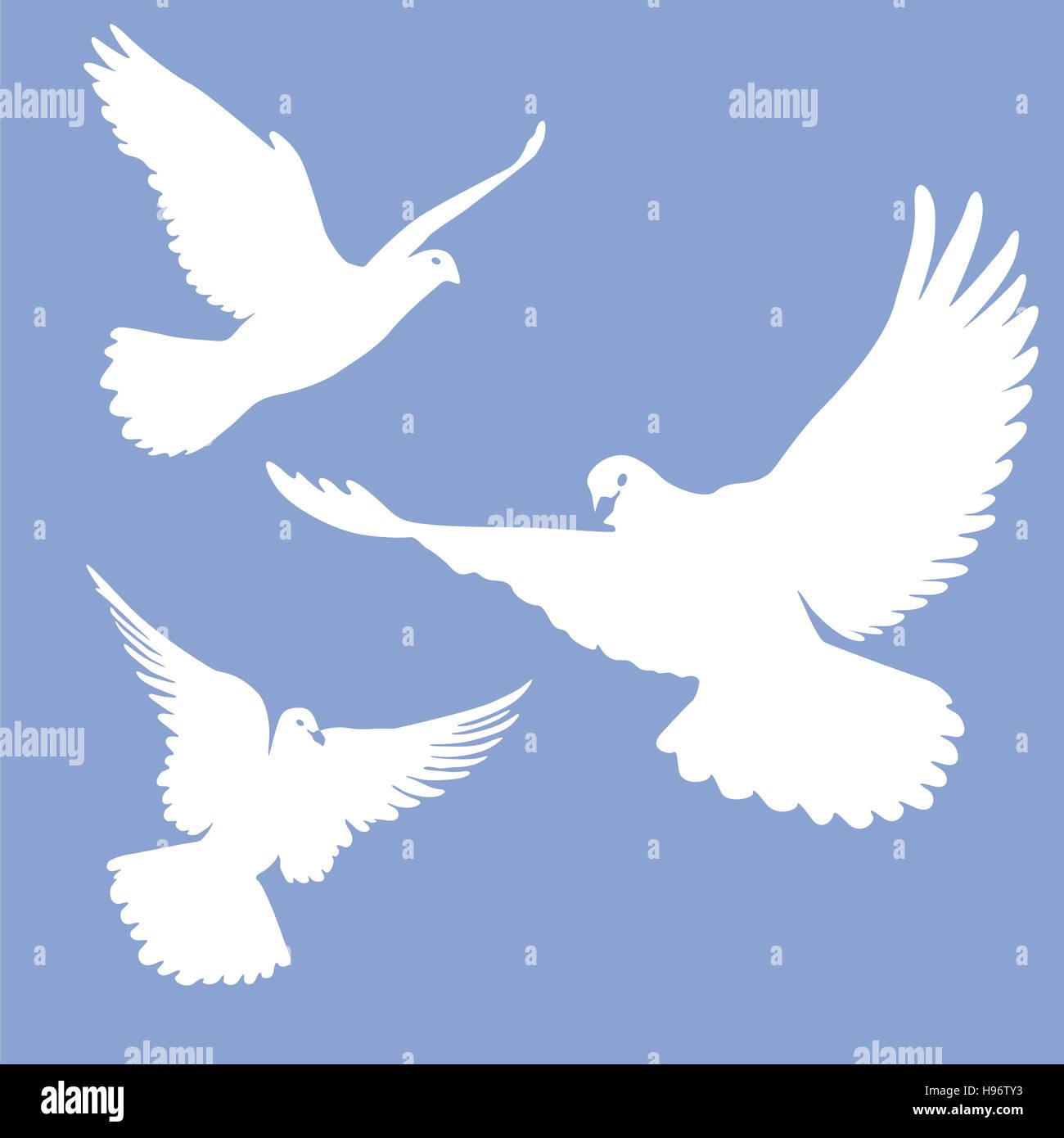 Volando Palomas Blancas Foto Imagen De Stock 126155767 Alamy